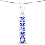 1.32 Carat Genuine Tanzanite .925 Sterling Silver Pendant