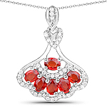 1.53 Carat Genuine Orange Sapphire and White Zircon .925 Sterling Silver Pendant