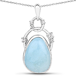 5.94 Carat Genuine Aquamarine and White Topaz .925 Sterling Silver Pendant