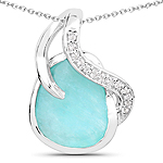 2.58 Carat Genuine Amazonite and White Topaz .925 Sterling Silver Pendant