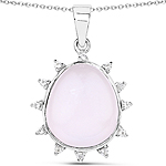 5.07 Carat Genuine Rose Quartz and White Topaz .925 Sterling Silver Pendant
