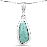 2.36 Carat Genuine Green Jasper and White Topaz .925 Sterling Silver Pendant