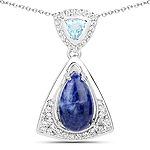 2.34 Carat Genuine Blue Aventurine, Blue Topaz and White Topaz .925 Sterling Silver Pendant