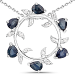 1.09 Carat Genuine Blue Sapphire and White Zircon .925 Sterling Silver Pendant