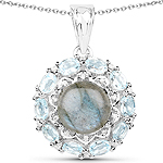"""5.90 Carat Genuine Labradorite, Blue Topaz and White Zircon .925 Sterling Silver Pendant"""