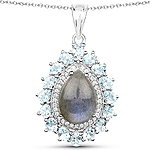 """7.93 Carat Genuine Labradorite, Blue Topaz and White Zircon .925 Sterling Silver Pendant"""