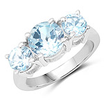 2.80 Carat Genuine Blue Topaz .925 Sterling Silver Ring