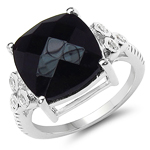 5.53 Carat Genuine Black Onyx & White Topaz .925 Sterling Silver Ring