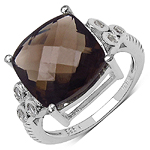 5.43 Carat Genuine Smoky Quartz & White Topaz .925 Sterling Silver Ring