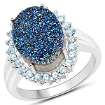 3.68 Carat Genuine Drusy Quartz and Swiss Blue Topaz .925 Sterling Silver Ring