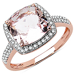 2.49 Carat Genuine Morganite & White Diamond 10K Rose Gold Ring