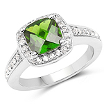 1.67 Carat Genuine Chrome Diopside and White Topaz .925 Sterling Silver Ring