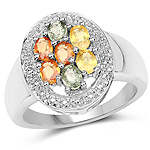 1.54 Carat Genuine Multi Sapphire .925 Sterling Silver Ring