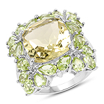 9.38 Carat Genuine Lemon Topaz & Peridot .925 Sterling Silver Ring