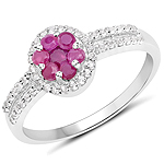 0.60 Carat Genuine Ruby and White Topaz .925 Sterling Silver Ring
