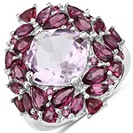 8.19 Carat Genuine Pink Amethyst and Rhodolite .925 Sterling Silver Ring