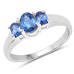 1.18 Carat Genuine Kyanite and White Diamond .925 Sterling Silver Ring