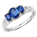 1.25 Carat Genuine Kyanite & White Diamond .925 Streling Silver Ring