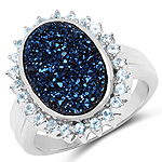 4.58 Carat Genuine Cobalt Blue Drusy and Swiss Blue Topaz .925 Sterling Silver Ring