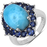 7.50 ct. t.w. Larimar and Iolite Ring in Sterling Silver