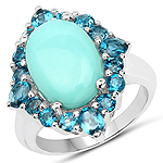 6.63 Carat Genuine Turquoise and London Blue Topaz .925 Sterling Silver Ring