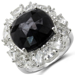 12.70 Carat Genuine Black Onyx & White Topaz .925 Sterling Silver Ring
