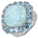 10.56 Carat Genuine Aquamarine & Blue Topaz .925 Sterling Silver Ring