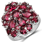 6.54 Carat Genuine Rhodolite .925 Sterling Silver Ring