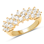 14K Yellow Gold Plated 1.76 Carat Genuine White Topaz .925 Sterling Silver Ring