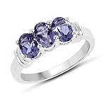 1.23 Carat Genuine Iolite .925 Sterling Silver Ring