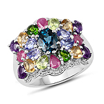 4.02 Carat Genuine Multi Stone .925 Sterling Silver Ring