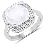 4.70 Carat Genuine Crystal Quartz .925 Sterling Silver Ring