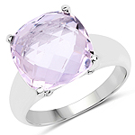 6.28 Carat Genuine Pink Amethyst .925 Sterling Silver Ring