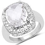 4.38 Carat Genuine Crystal Quartz .925 Sterling Silver Ring
