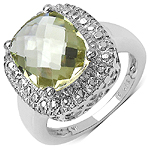4.42 Carat Genuine Lemon Topaz .925 Sterling Silver Ring