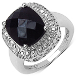 4.10 Carat Genuine Black Onyx .925 Sterling Silver Ring