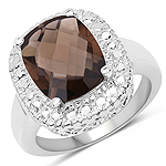 3.85 Carat Genuine Smoky Topaz .925 Sterling Silver Ring