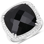 9.77 Carat Genuine Black Onyx .925 Sterling Silver Ring