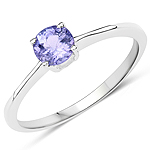 0.47 Carat Genuine Tanzanite .925 Sterling Silver Ring