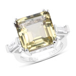11.45 Carat Genuine Lemon Quartz and White Topaz .925 Sterling Silver Ring