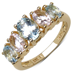 18K Yellow Gold Plated 2.17 Carat Genuine Aquamarine & Morganite .925 Sterling Silver Ring
