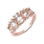 14K Rose Gold Plated 2.16 Carat Genuine Morganite .925 Sterling Silver Ring