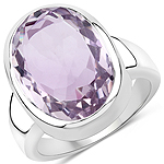 10.41 Carat Genuine Pink Amethyst .925 Sterling Silver Ring