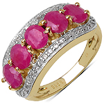 14K Yellow Gold Plated 2.75 Carat Genuine Ruby & White Diamond .925 Sterling Silver Ring