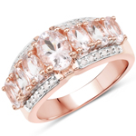 14K Rose Gold Plated 2.14 Carat Genuine Morganite and White Topaz .925 Sterling Silver Ring