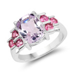 3.18 Carat Genuine Pink Amethyst and Rhodolite .925 Sterling Silver Ring