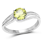 1.10 Carat Genuine Peridot .925 Sterling Silver Ring