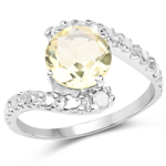 1.81 Carat Genuine Lemon Topaz and White Diamond .925 Sterling Silver Ring