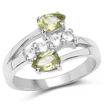 1.12 Carat Genuine Peridot and White Topaz .925 Sterling Silver Ring