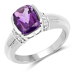 1.52 Carat Genuine Amethyst and White Topaz .925 Sterling Silver Ring